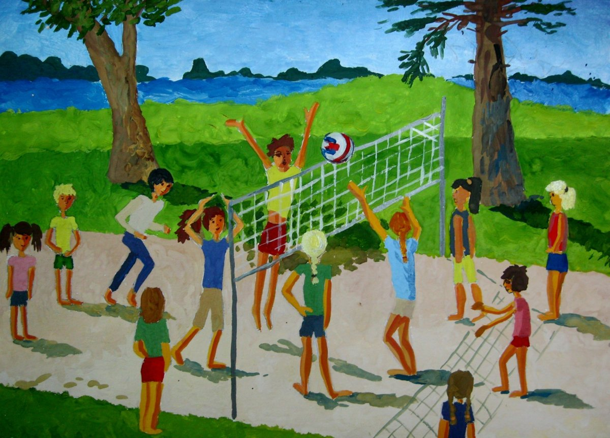 Картинки детей в лагере нарисованные